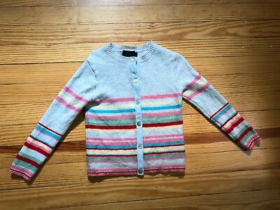 Mini Boden Girl Striped Sweater Pink Red Gray Blue Yellow 5-6 Cardigan Sweater