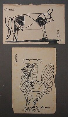PABLO PICASSO     2 -  INK DRAWING ON ORIGINAL PAPER OF THE 30s