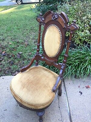 Antique Carved Victorian Empire Wood  Side Parlor Upholstered Chair