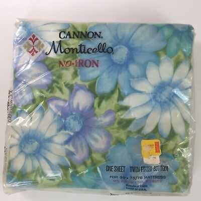 Vintage Cannon Monticello Blue Floral RETRO Twin Fitted Bottom Sheet NIP