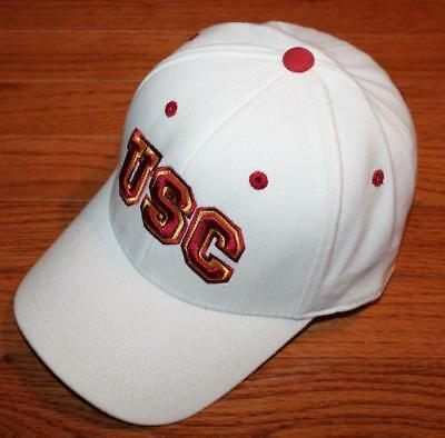 6198c160 University of Southern California Trojans USC Stretch Fitted White Hat Cap  *H4