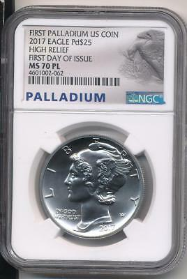 2017 $25 High Relief Palladium Eagle Ngc Ms70 Pl Proof Like First Day Of Issue !