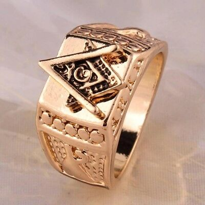 Masonic Lodge Gold Signet Ring Square & Compasses Freemason Size Y / US 12