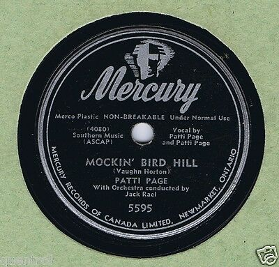 Patti Page 78 Mockin' Bird Hill VG++ 1951 Billboard # 2 Canada Mercury 5595