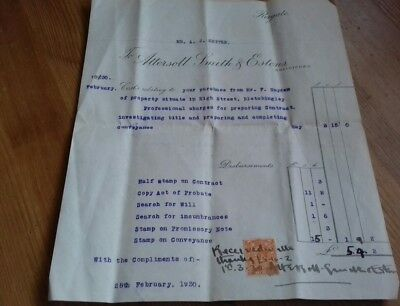 Attersoll Smith & Estens Reigate - Invoice High St Bletchingley 1930