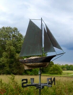 Antique Copper And Wood Sailboat Weathervane In Natural Worn Surface