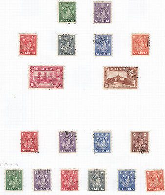 ST LUCIA 1938 GEORGE VI stamps on 2 pages good to fine used