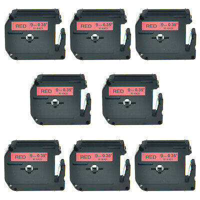 """8PK 3/8"""" Black on Red Lable Tape M421 MK421 M-K421 For Brother P-touch 70BMH"""