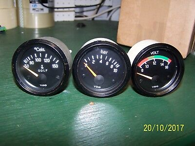 Vw Golf Audi Vdo Gauges - Volts Oil Temp Oil Pressure