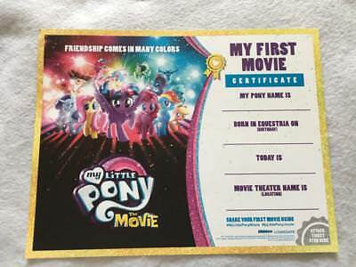 MY LITTLE PONY THE MOVIE 8.5x11 DS Original Promo Movie Poster Certificate First