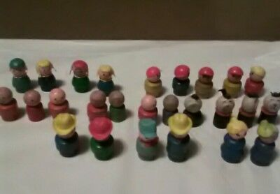 Vintage Fisher Price wooden little people lot