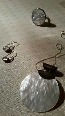 Womens joblot sterling silver mother of pearl necklace & ring moonstone earrings