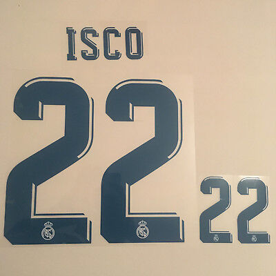 Isco 22 Madrid Football Shirt Name Number Set Print Transfer Nameset Kit