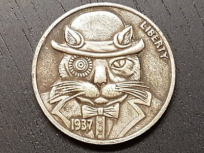 1937 Buffalo Liberty Hobo nickel coin cat in bowler hat and Bowtie 5 Cents