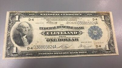 1918 $1 Large Size National Currency Note * Cleveland * Federal Reserve Bank