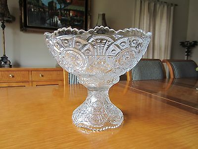Elegant Vintage Pressed Glass Punch Bowl With Stand