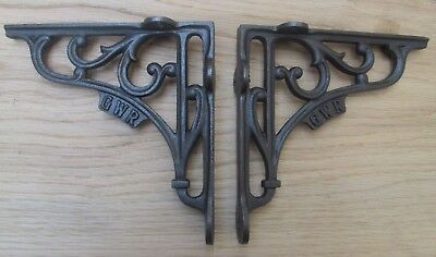 "6"" PAIR GWR RAILWAY antique Vintage style cast iron shelf bracket wall mounted"
