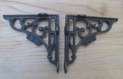"5"" PAIR GWR RAILWAY antique Vintage style cast iron shelf bracket wall mounted"