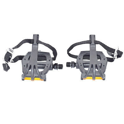 """VP PE355T Performance Resin Bike Pedals With Toe Clips & Straps 9/16"""" - Black"""