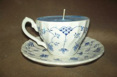 Homemade Teacup Candle and Saucer Soy Wax Blue Sea Breeze Scent Floral Design