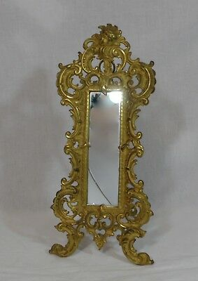 Signed Gold Gilt Iron Bradley & Hubbard Easel Or Wall Hanging Mirror W/ Cherub