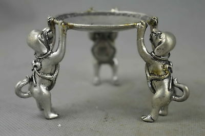 Collectable Handwork Old MIao Silver Carve Three Dog Hold Wealthy Candlestick