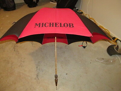 Rare VINTAGE AMERICAN BEER MICHELOB WOOD GOLF UMBRELLA RETRO COOL w/ OPENER