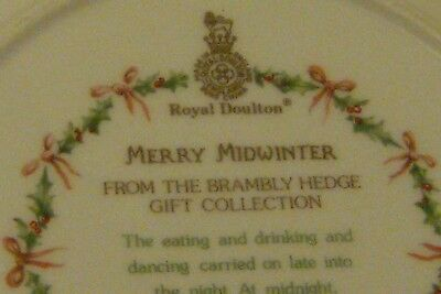 "Royal Doulton Brambly Hedge 8"" Wall Plate Merry Midwinter 1St Quality"