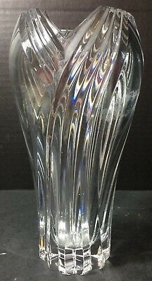 """Vintage Tapered Lenox Crystal Ribbed Vase 8.25"""" x 4.25"""" Excellent Condition"""