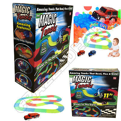 MAGIC TRACKS DIY 220 Glow in the Dark LED LIGHT UP RACE CAR Bend Flex Racetrack