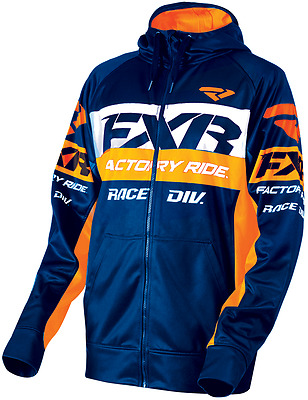 FXR Race Division Tech Hoodie - Navy / Orange  - Medium or XL - NEW