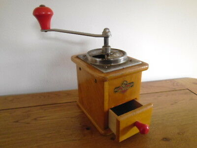 VINTAGE KISSLING & MULLMANN KYM 1950s COFFEE MILL GRINDER, RED HANDLES, GERMANY