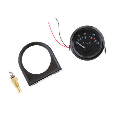 2'' Car Yellow LED Oil Temp Temperature Sensor Pointer Gauge Meter