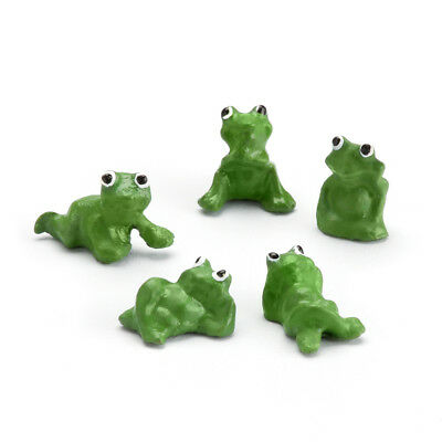 "0.5"" My Fairy Gardens Tiny Green Frog Figurines Set of 5 - Micro Mini Miniatures"