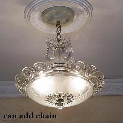 178b STUNNING arT Deco Vintage Ceiling Lamp Fixture Glass Chandelier 3 Lights