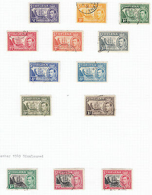 St Helena 1938/44  KGVI Definitives to 1/-  - SG 131/137 + Extras - fine used