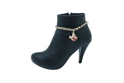 Women Silver Metal Chain Boot Bracelet Shoe Anklet Bling Blue Beads Retro Charms
