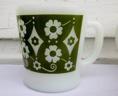 Vintage Fire King Mug Scarce Daisy And Diamond Olive Green Color