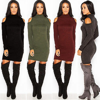 Women Cold Shoulder Jumper Sweater Knit Tops Party Bodycon Clubwear Mini Dress