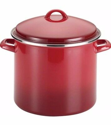 Rachael Ray Enamel on Steel 12qt Covered Stockpot Red Gradient