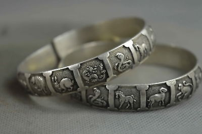 Collectable Handwork Miao Silver Carve Chinese Zodiac Exorcism One Pair Bracelet