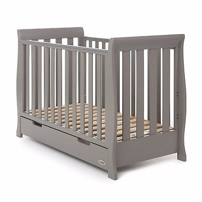 Obaby Stamford Mini Sleigh Cot Bed Crib Boys Girls Nursery Furniture – Grey