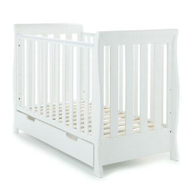 Obaby Stamford Mini Sleigh Cot Bed Crib Girls Boys Nursery Furniture– White