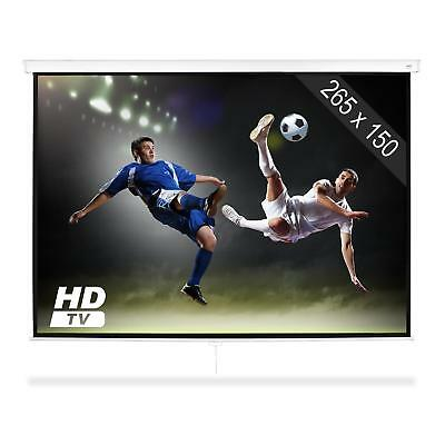 HDTV Roll  Up Projector Screen LCD DLP Home Cinema office 16:9 Wall Mountable
