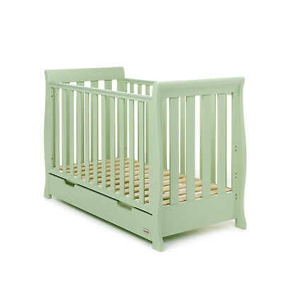Obaby Stamford Mini Sleigh Cot Bed Crib Girls Boys Nursery Furniture – Pistacio