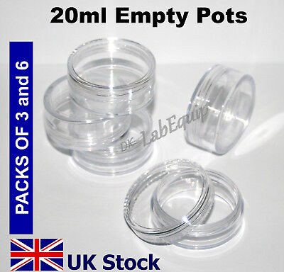 20ml Empty Plastic Pots, Jars, Clear Containers - UK Stock