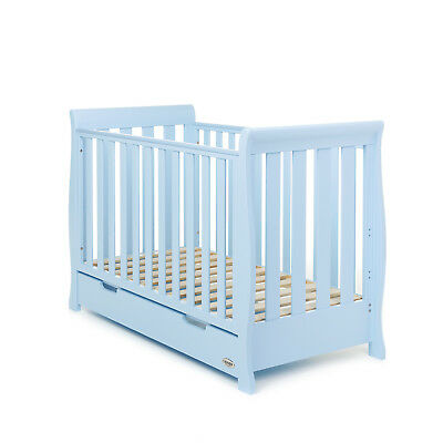 Obaby Stamford Mini Sleigh Cot Bed Crib Boys Nursery Furniture – Bon Bon Blue