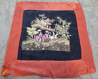 Antique Chinese Hand Embroidery Silk Wall Hanging Tapestry/Panel 59X56cm (X124)