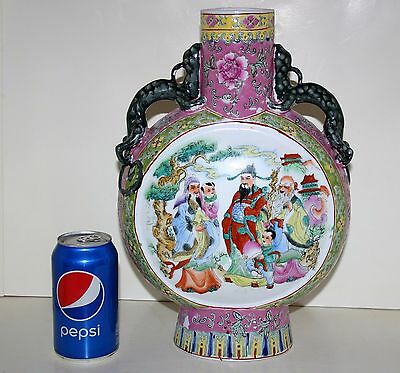 Authentic Antique Chinese Eight Immortals Enamel Porcelain Moon Vase Signed Rare
