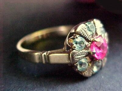Vintage Victorian 10K Gold Ring with Pink and Blue Stones.